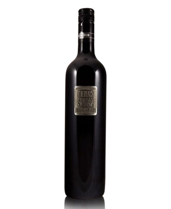 the-black-shiraz-metal-lable-berton-vineyard-shelved-wine